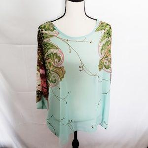 Tops - Turquoise boho paisley kimono style tunic blouse